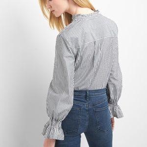 GAP Poplin smock-sleeve ruffle Button Down shirt S